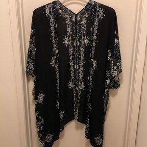 Black and White boho print kimono XL